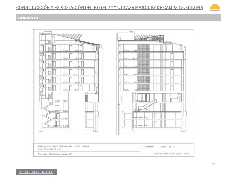 11 memoria VOLVER INDICE CONSTRUCCIÓN Y EXPLOTACIÓN DEL HOTEL ****. PLAZA MARQUÉS DE CAMPS 13. GIRONA
