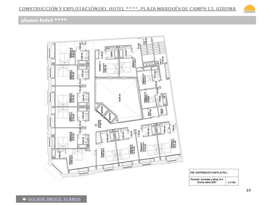23 planos hotel **** VOLVER INDICE PLANOS CONSTRUCCIÓN Y EXPLOTACIÓN DEL HOTEL ****. PLAZA MARQUÉS DE CAMPS 13. GIRONA