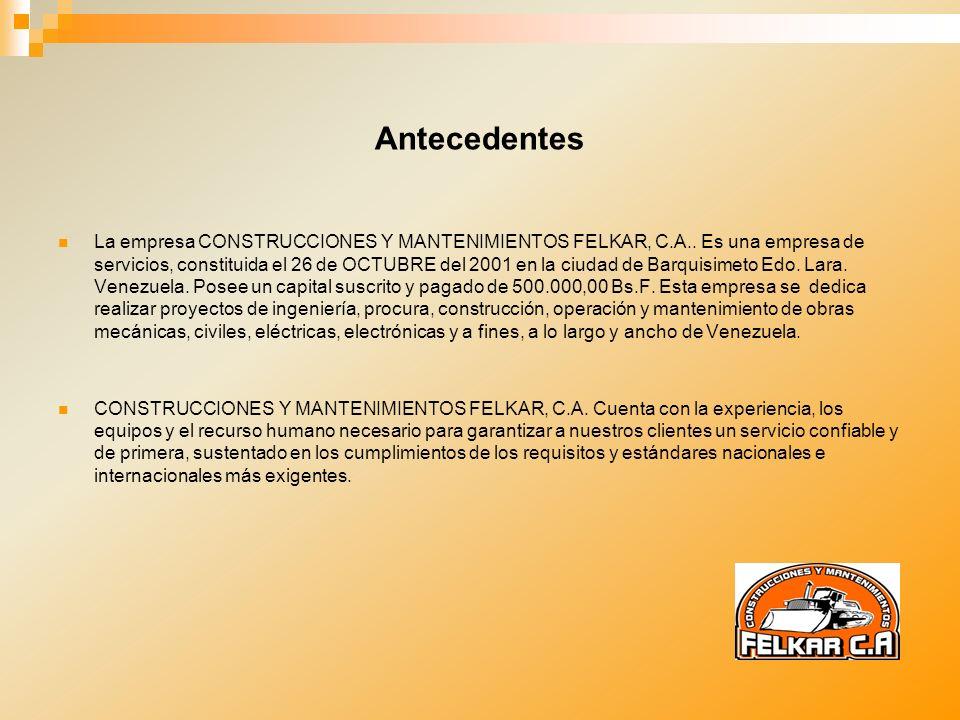 Antecedentes La empresa CONSTRUCCIONES Y MANTENIMIENTOS FELKAR, C.A.. Es una empresa de servicios, constituida el 26 de OCTUBRE del 2001 en la ciudad