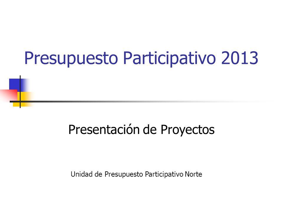 Presupuesto Participativo 2013 Presentación de Proyectos Unidad de Presupuesto Participativo Norte
