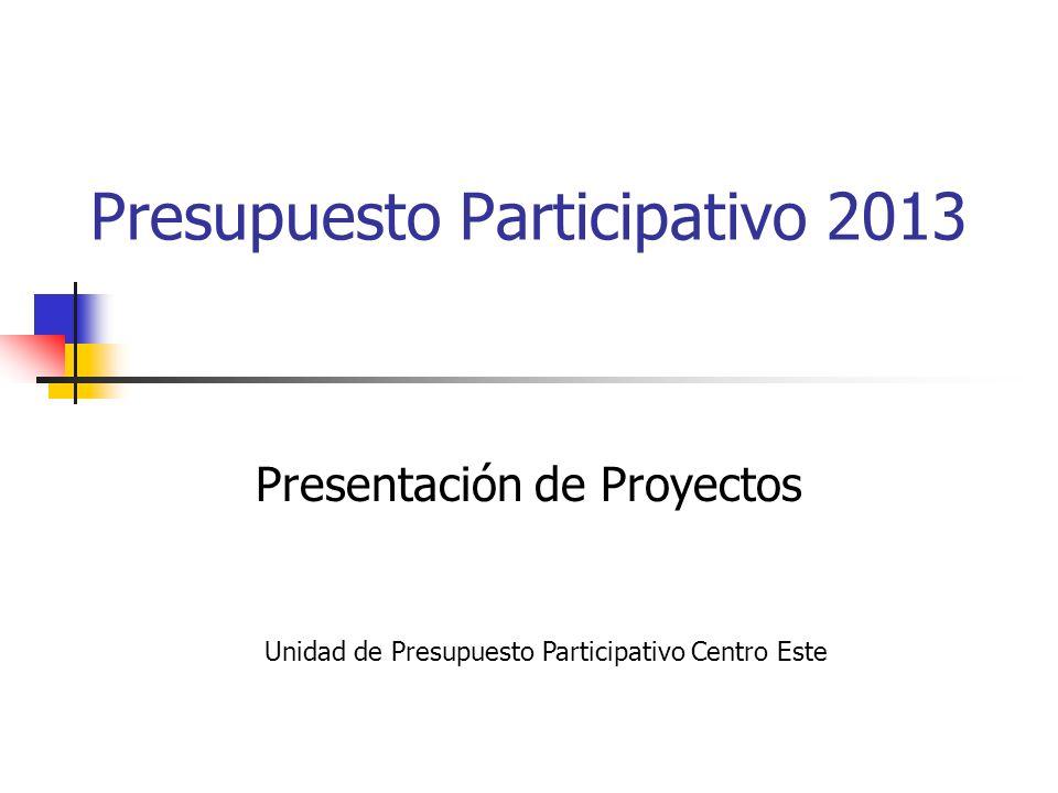 Presupuesto Participativo 2013 Presentación de Proyectos Unidad de Presupuesto Participativo Centro Este