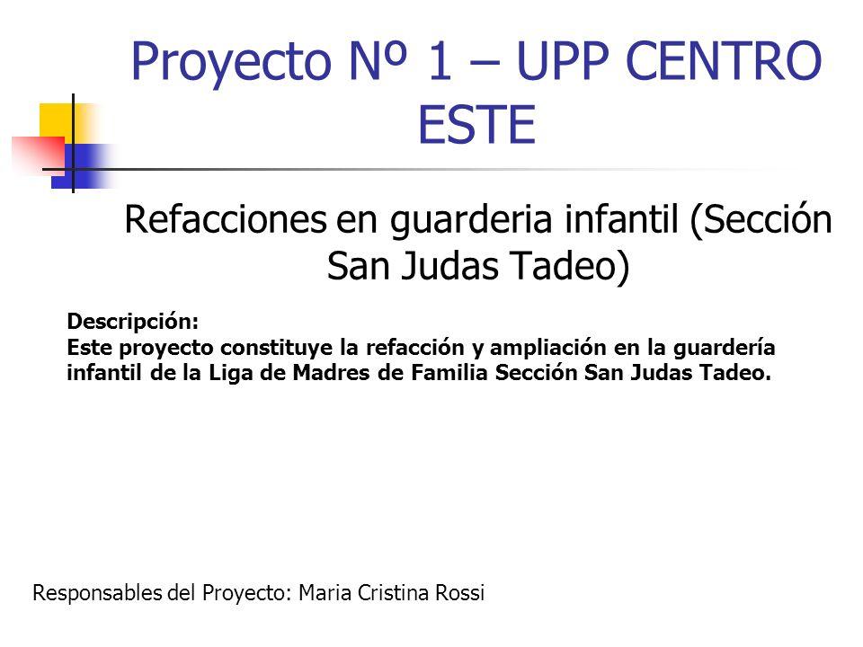 Proyecto Nº 1 – UPP CENTRO ESTE Refacciones en guarderia infantil (Sección San Judas Tadeo) Descripción: Este proyecto constituye la refacción y ampli