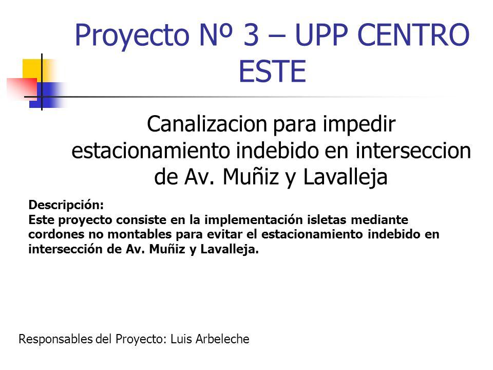 Proyecto Nº 3 – UPP CENTRO ESTE Canalizacion para impedir estacionamiento indebido en interseccion de Av. Muñiz y Lavalleja Descripción: Este proyecto