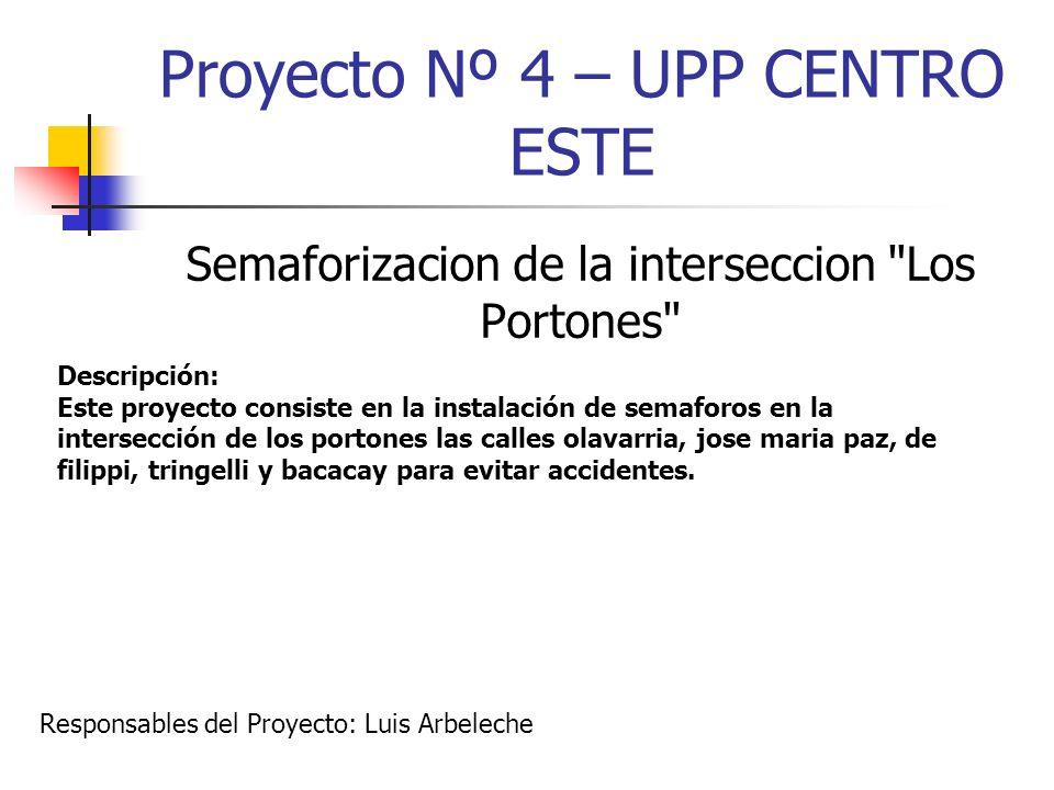 Proyecto Nº 4 – UPP CENTRO ESTE Semaforizacion de la interseccion