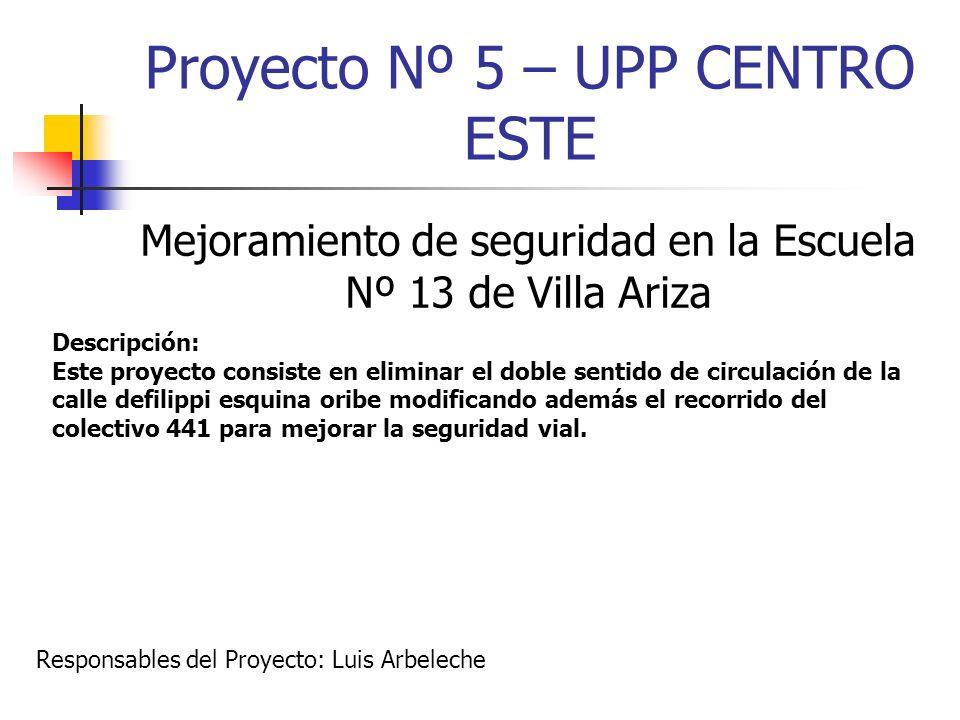 Proyecto Nº 5 – UPP CENTRO ESTE Mejoramiento de seguridad en la Escuela Nº 13 de Villa Ariza Descripción: Este proyecto consiste en eliminar el doble