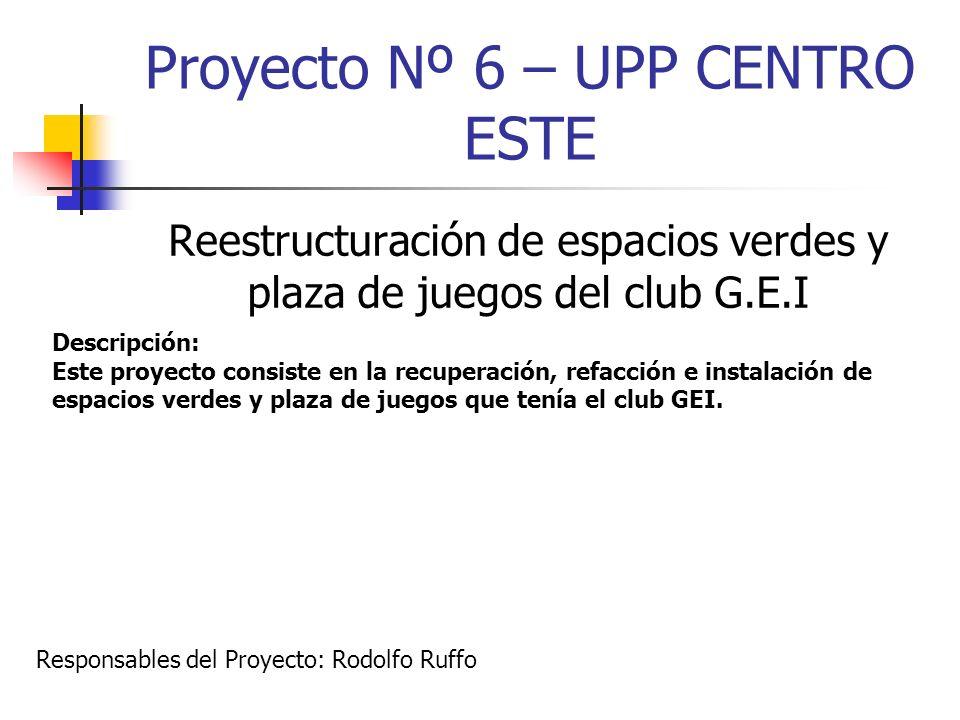 Proyecto Nº 6 – UPP CENTRO ESTE Reestructuración de espacios verdes y plaza de juegos del club G.E.I Descripción: Este proyecto consiste en la recuper