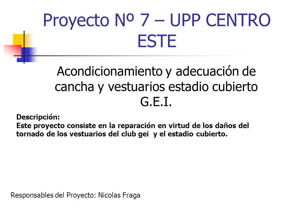 Proyecto Nº 7 – UPP CENTRO ESTE Acondicionamiento y adecuación de cancha y vestuarios estadio cubierto G.E.I. Descripción: Este proyecto consiste en l