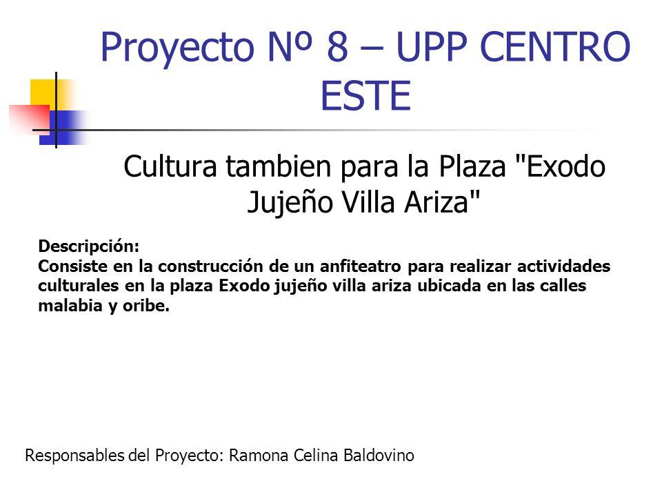 Proyecto Nº 8 – UPP CENTRO ESTE Cultura tambien para la Plaza