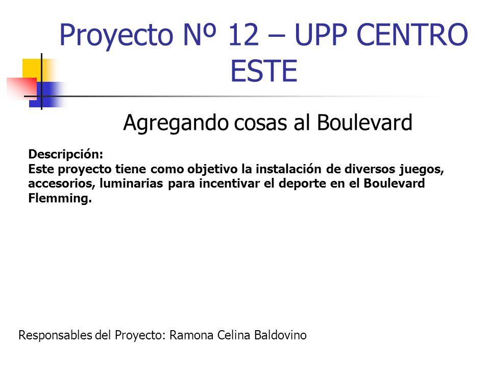 Proyecto Nº 12 – UPP CENTRO ESTE Agregando cosas al Boulevard Descripción: Este proyecto tiene como objetivo la instalación de diversos juegos, acceso