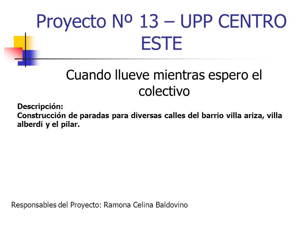 Proyecto Nº 13 – UPP CENTRO ESTE Cuando llueve mientras espero el colectivo Descripción: Construcción de paradas para diversas calles del barrio villa