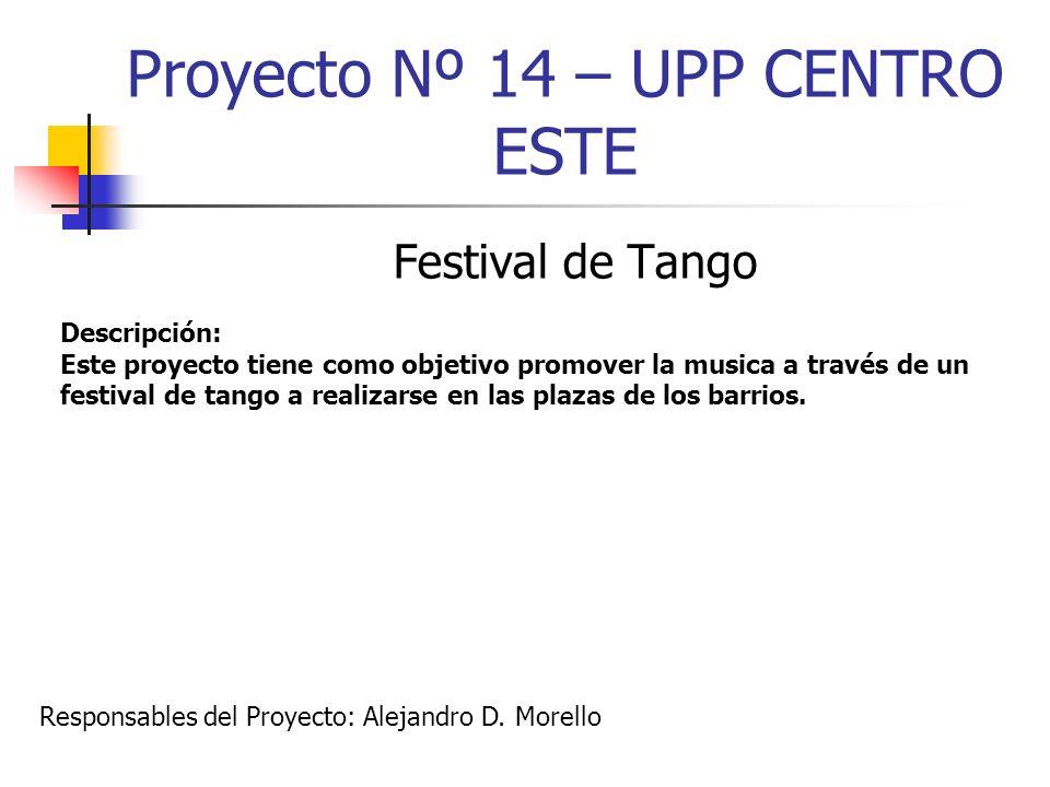 Proyecto Nº 14 – UPP CENTRO ESTE Festival de Tango Descripción: Este proyecto tiene como objetivo promover la musica a través de un festival de tango