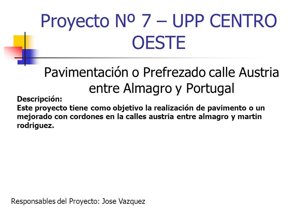 Proyecto Nº 7 – UPP CENTRO OESTE Pavimentación o Prefrezado calle Austria entre Almagro y Portugal Descripción: Este proyecto tiene como objetivo la r