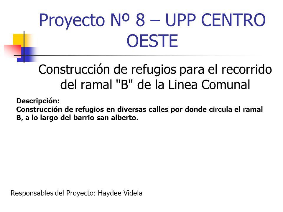 Proyecto Nº 8 – UPP CENTRO OESTE Construcción de refugios para el recorrido del ramal