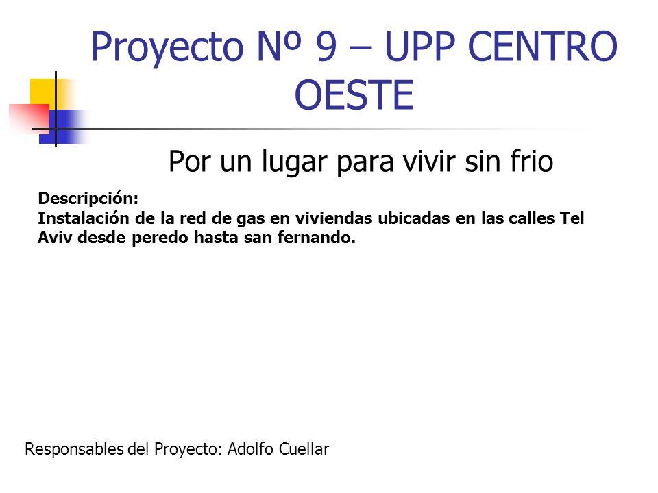 Proyecto Nº 9 – UPP CENTRO OESTE Por un lugar para vivir sin frio Descripción: Instalación de la red de gas en viviendas ubicadas en las calles Tel Av