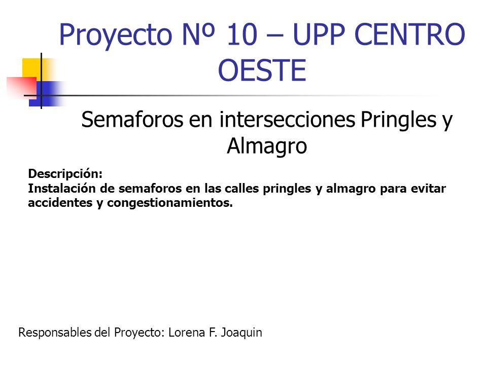 Proyecto Nº 10 – UPP CENTRO OESTE Semaforos en intersecciones Pringles y Almagro Descripción: Instalación de semaforos en las calles pringles y almagr