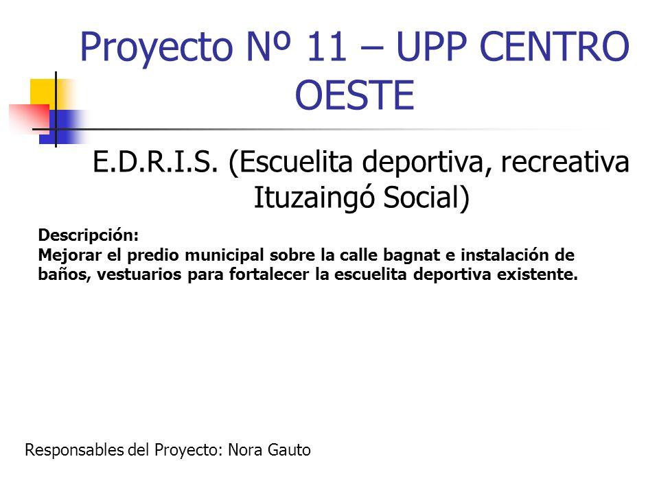 Proyecto Nº 11 – UPP CENTRO OESTE E.D.R.I.S. (Escuelita deportiva, recreativa Ituzaingó Social) Descripción: Mejorar el predio municipal sobre la call