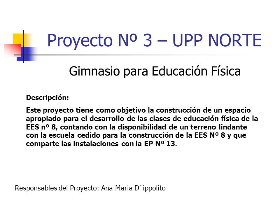Proyecto Nº 3 – UPP NORTE Gimnasio para Educación Física Descripción: Este proyecto tiene como objetivo la construcción de un espacio apropiado para e