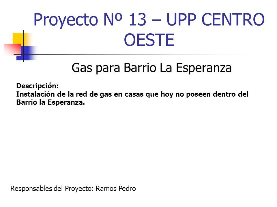 Proyecto Nº 13 – UPP CENTRO OESTE Gas para Barrio La Esperanza Descripción: Instalación de la red de gas en casas que hoy no poseen dentro del Barrio