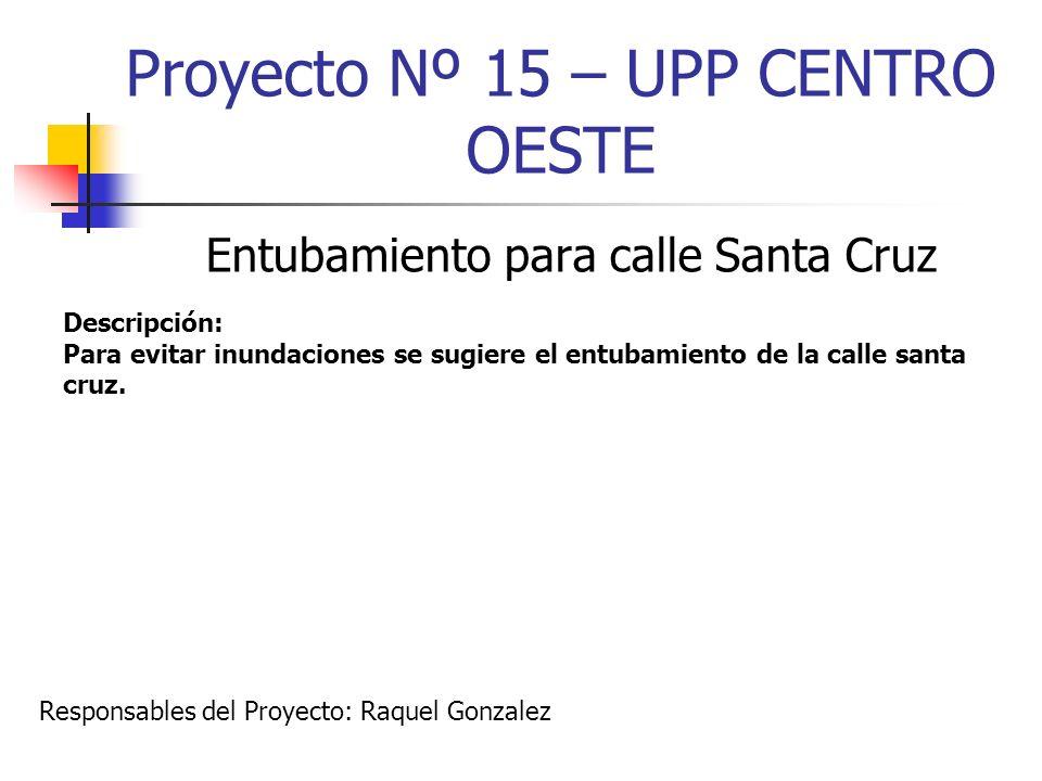 Proyecto Nº 15 – UPP CENTRO OESTE Entubamiento para calle Santa Cruz Descripción: Para evitar inundaciones se sugiere el entubamiento de la calle sant