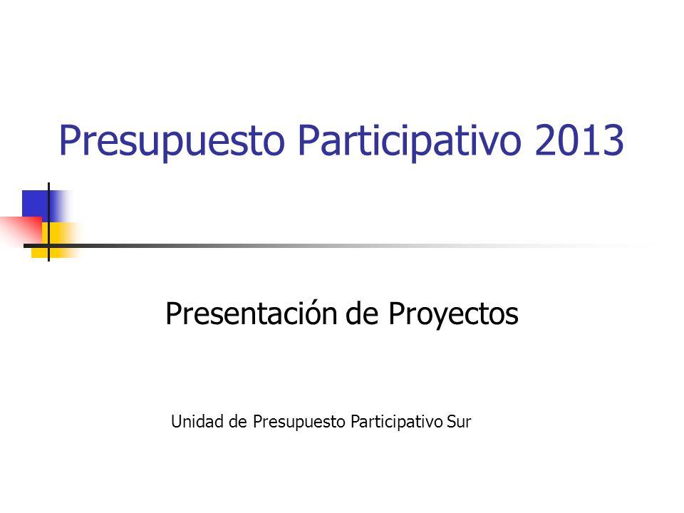 Presupuesto Participativo 2013 Presentación de Proyectos Unidad de Presupuesto Participativo Sur