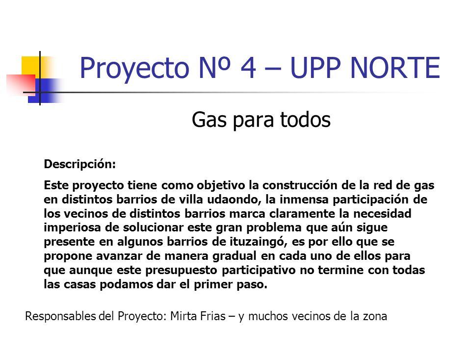 Proyecto Nº 4 – UPP NORTE Gas para todos Descripción: Este proyecto tiene como objetivo la construcción de la red de gas en distintos barrios de villa