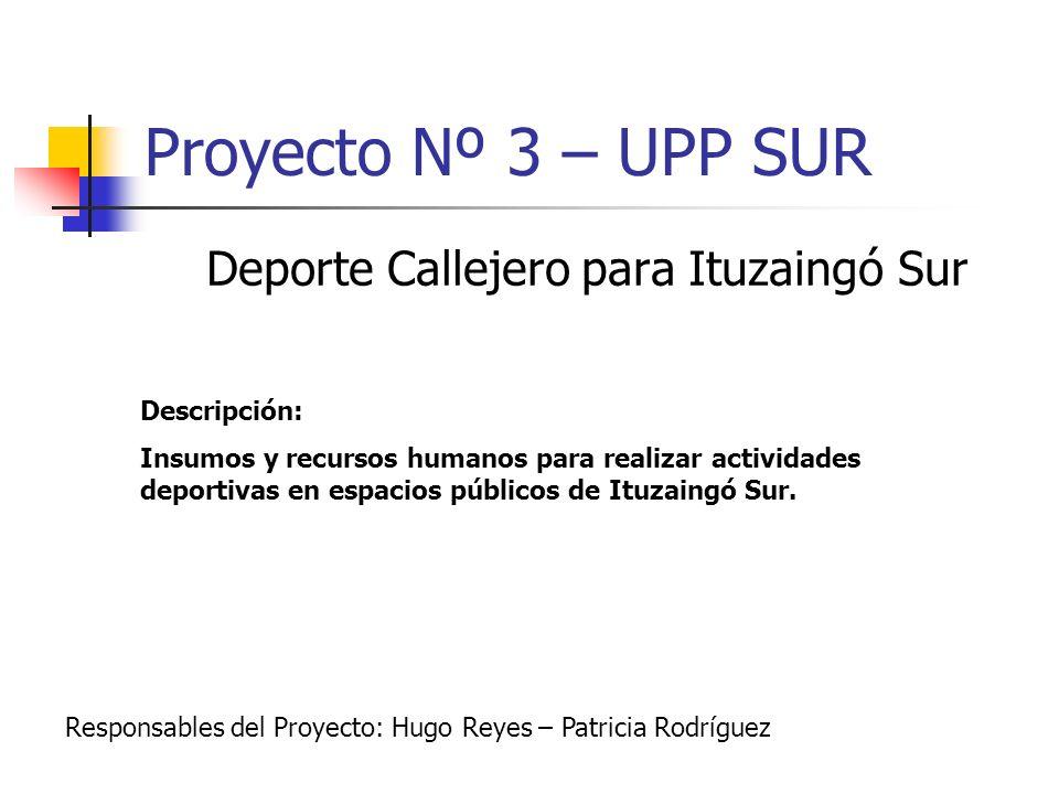 Proyecto Nº 3 – UPP SUR Deporte Callejero para Ituzaingó Sur Descripción: Insumos y recursos humanos para realizar actividades deportivas en espacios