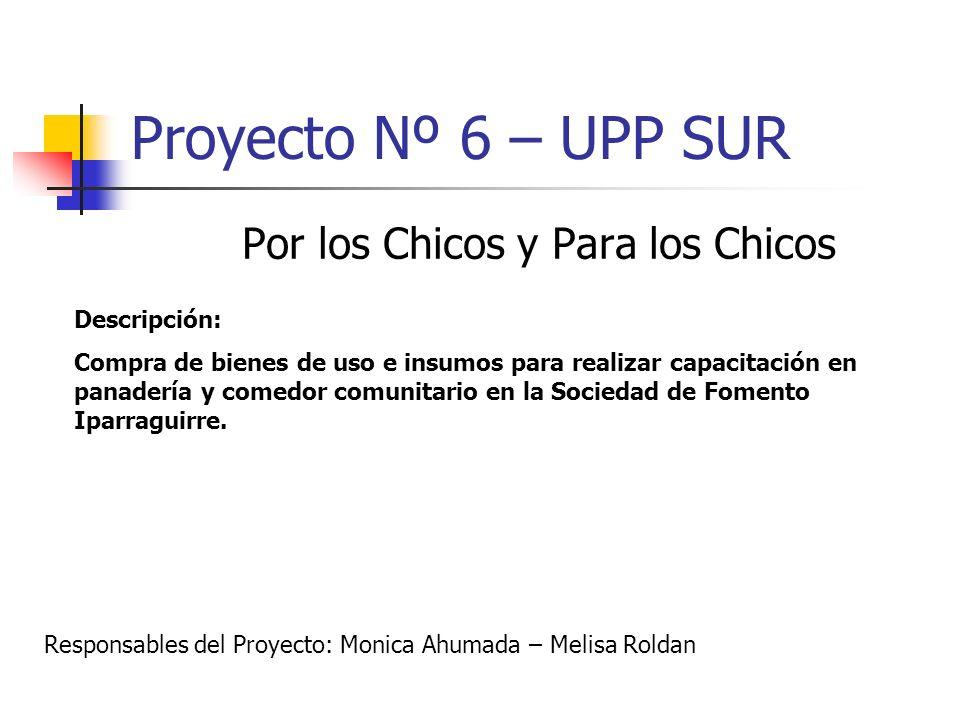 Proyecto Nº 6 – UPP SUR Por los Chicos y Para los Chicos Descripción: Compra de bienes de uso e insumos para realizar capacitación en panadería y come