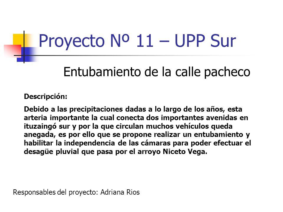 Proyecto Nº 11 – UPP Sur Entubamiento de la calle pacheco Descripción: Debido a las precipitaciones dadas a lo largo de los años, esta arteria importa