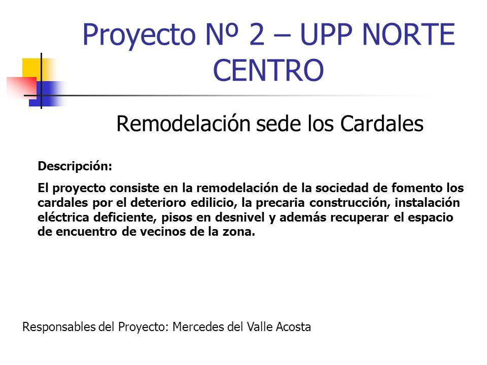 Proyecto Nº 2 – UPP NORTE CENTRO Remodelación sede los Cardales Descripción: El proyecto consiste en la remodelación de la sociedad de fomento los car
