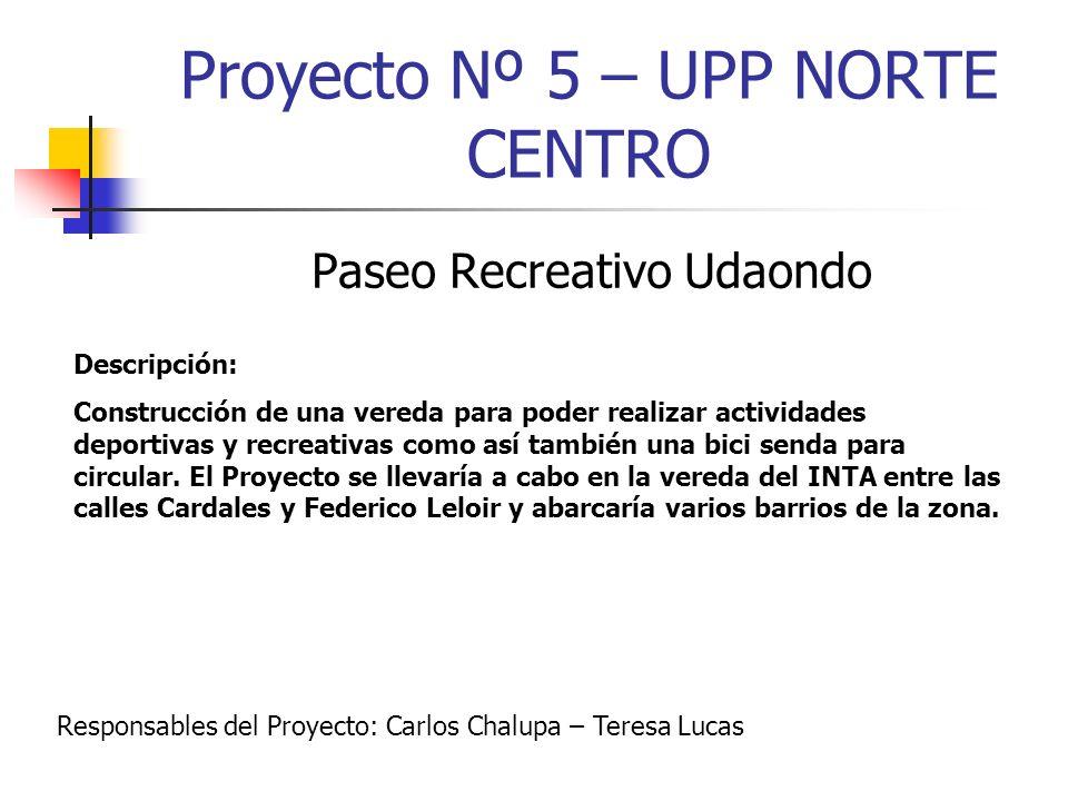 Proyecto Nº 5 – UPP NORTE CENTRO Paseo Recreativo Udaondo Descripción: Construcción de una vereda para poder realizar actividades deportivas y recreat