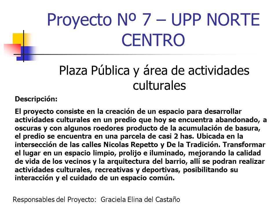 Proyecto Nº 7 – UPP NORTE CENTRO Plaza Pública y área de actividades culturales Descripción: El proyecto consiste en la creación de un espacio para de