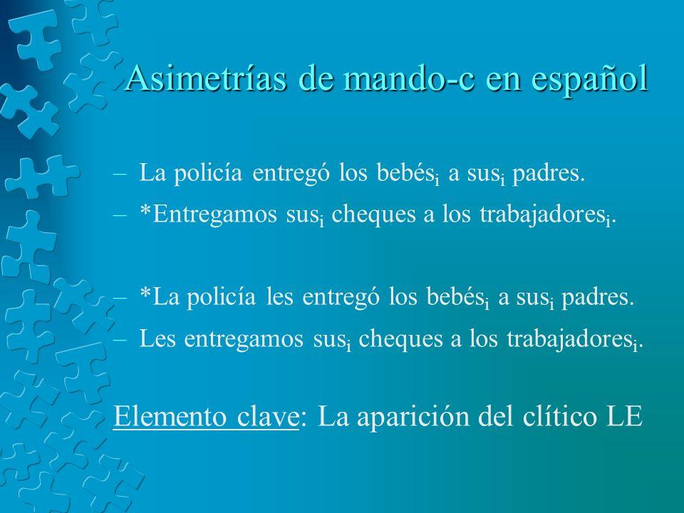 Asimetrías de mando-c en español –La policía entregó los bebés i a sus i padres. –*Entregamos sus i cheques a los trabajadores i. –*La policía les ent