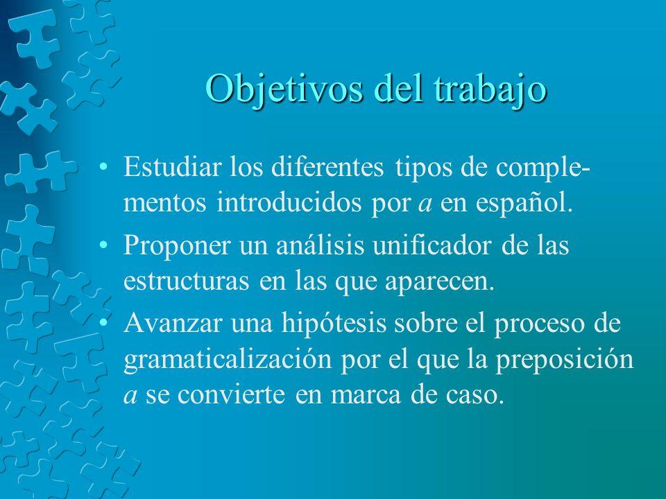 Objetivos del trabajo Estudiar los diferentes tipos de comple- mentos introducidos por a en español. Proponer un análisis unificador de las estructura