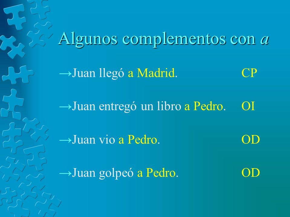 Algunos complementos con a Juan llegó a Madrid. Juan entregó un libro a Pedro. Juan vio a Pedro. Juan golpeó a Pedro. CP OI OD