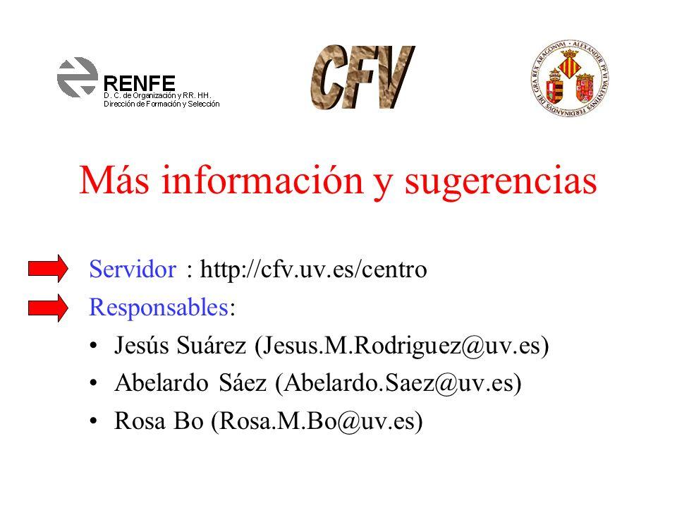 Más información y sugerencias Servidor : http://cfv.uv.es/centro Responsables: Jesús Suárez (Jesus.M.Rodriguez@uv.es) Abelardo Sáez (Abelardo.Saez@uv.