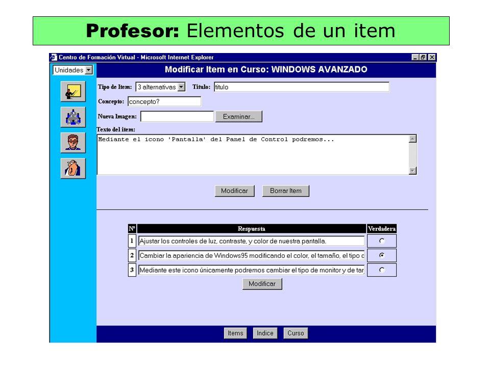 Profesor: Elementos de un item