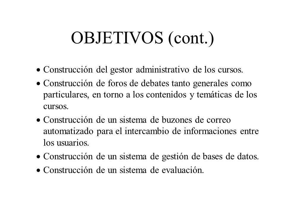 OBJETIVOS (cont.) Construcción del gestor administrativo de los cursos. Construcción de foros de debates tanto generales como particulares, en torno a
