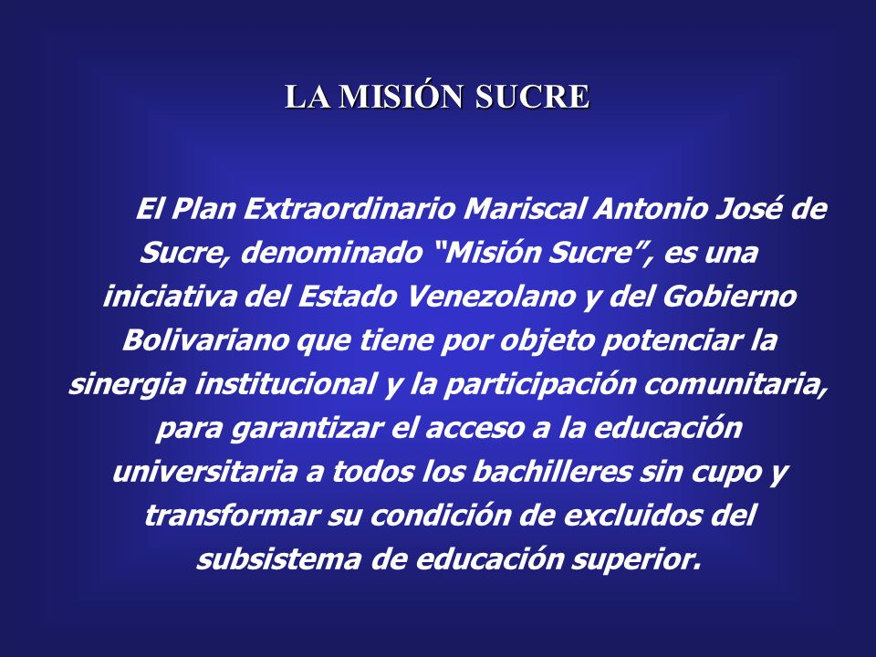 República Bolivariana de Venezuela Ministerio de Educación Superior Misión Sucre