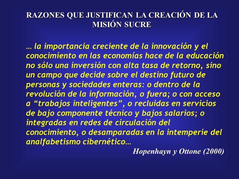 La función estratégica de la Educación Superior RAZONES QUE JUSTIFICAN LA CREACIÓN DE LA MISIÓN SUCRE La educación superior es un factor estratégico para la transformación social, la consolidación de la soberanía nacional y la construcción de una sociedad mejor