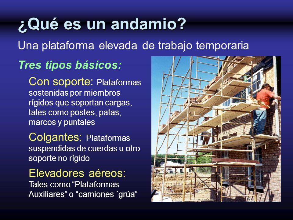¿Qué es un andamio? Una plataforma elevada de trabajo temporaria Tres tipos básicos: Con soporte: Plataformas sostenidas por miembros rígidos que sopo