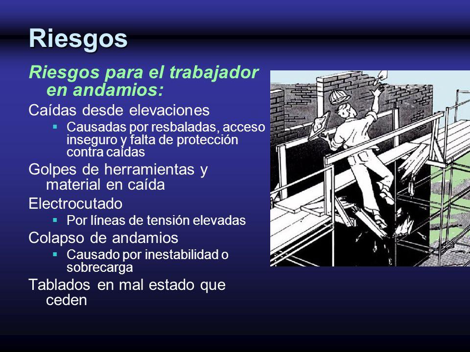 Riesgos Riesgos para el trabajador en andamios: Caídas desde elevaciones Causadas por resbaladas, acceso inseguro y falta de protección contra caídas