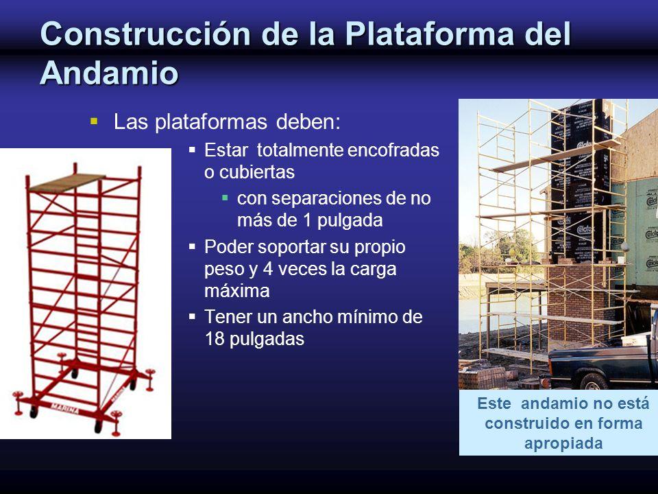 Construcción de la Plataforma del Andamio Las plataformas deben: Estar totalmente encofradas o cubiertas con separaciones de no más de 1 pulgada Poder