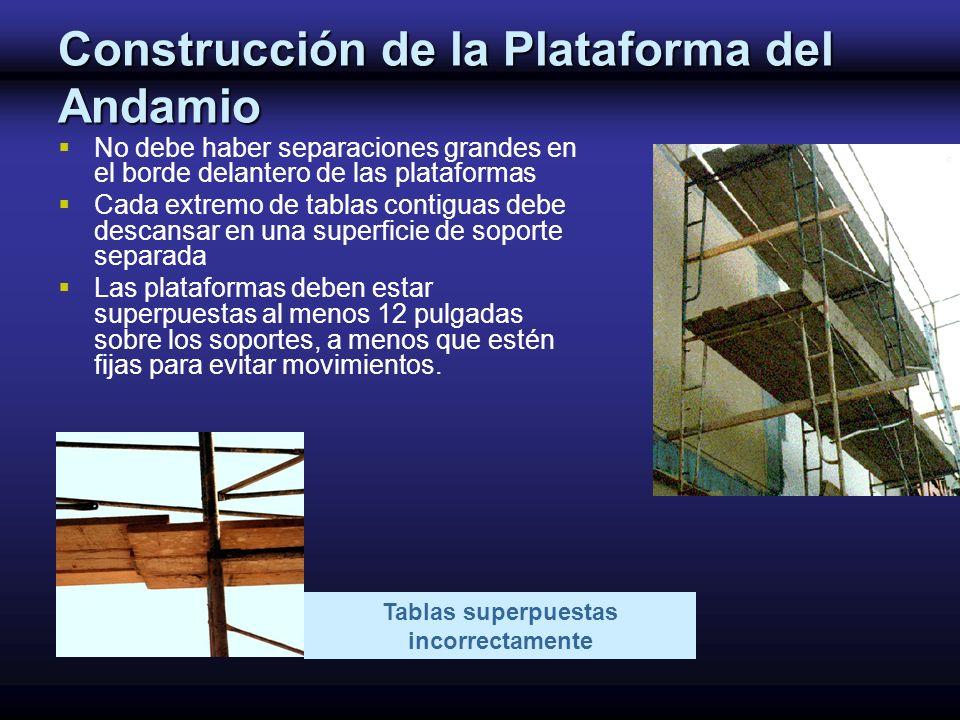 Construcción de la Plataforma del Andamio No debe haber separaciones grandes en el borde delantero de las plataformas Cada extremo de tablas contiguas
