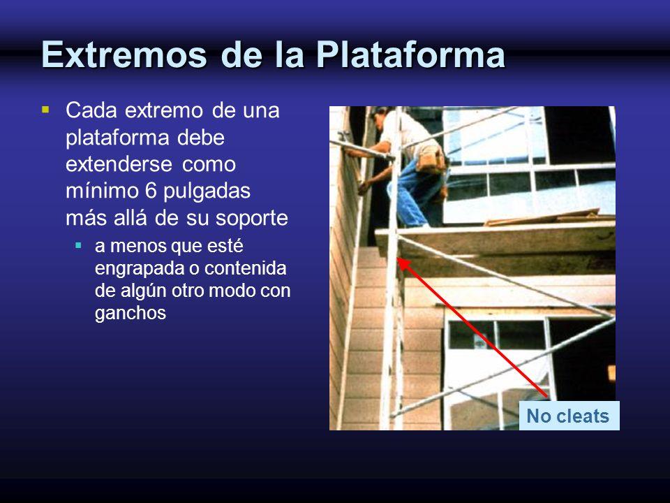 No cleats Extremos de la Plataforma Cada extremo de una plataforma debe extenderse como mínimo 6 pulgadas más allá de su soporte a menos que esté engr