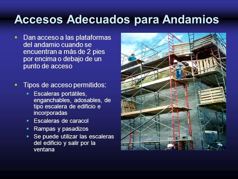 Accesos Adecuados para Andamios Dan acceso a las plataformas del andamio cuando se encuentran a más de 2 pies por encima o debajo de un punto de acces