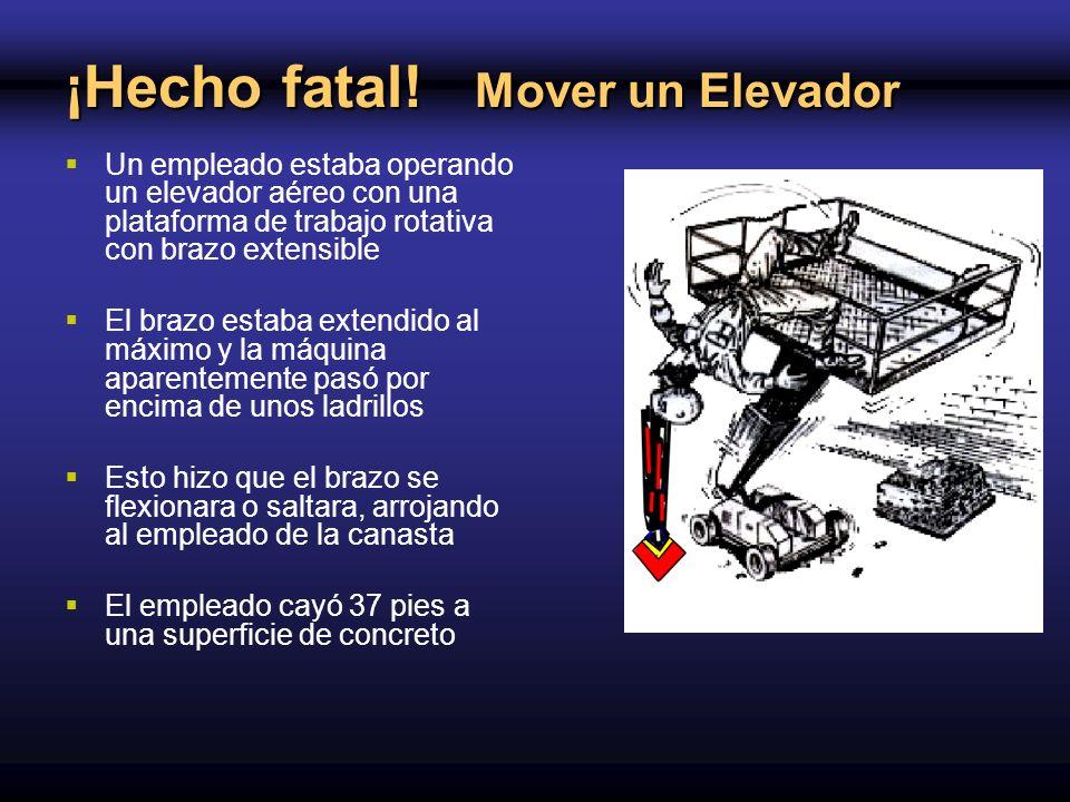 ¡Hecho fatal! Mover un Elevador Un empleado estaba operando un elevador aéreo con una plataforma de trabajo rotativa con brazo extensible El brazo est