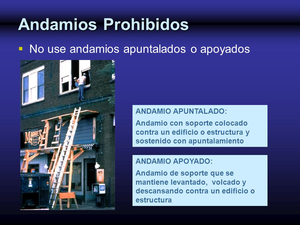 ANDAMIO APUNTALADO: Andamio con soporte colocado contra un edificio o estructura y sostenido con apuntalamiento ANDAMIO APOYADO: Andamio de soporte qu