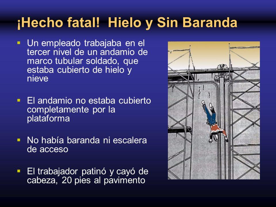 ¡Hecho fatal! Hielo y Sin Baranda Un empleado trabajaba en el tercer nivel de un andamio de marco tubular soldado, que estaba cubierto de hielo y niev