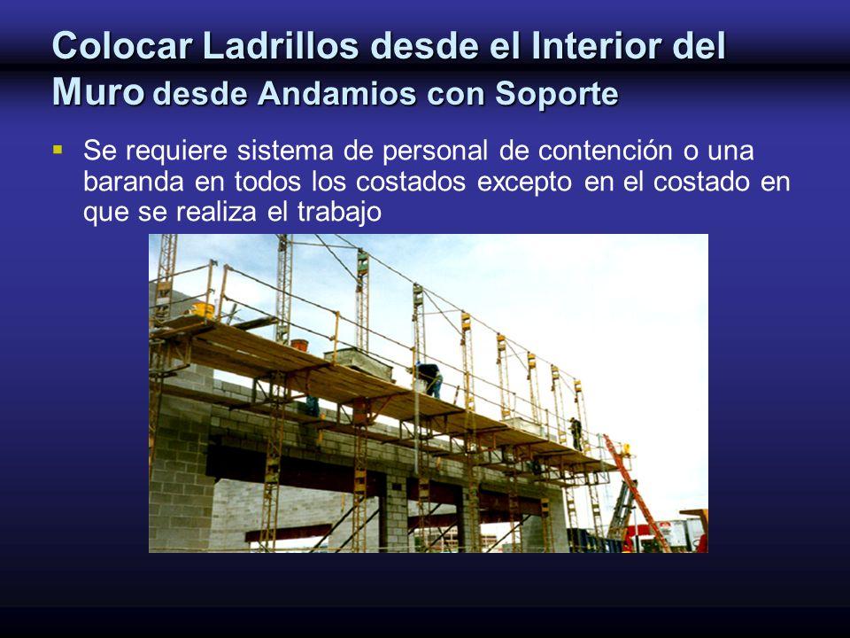 Colocar Ladrillos desde el Interior del Muro desde Andamios con Soporte Se requiere sistema de personal de contención o una baranda en todos los costa