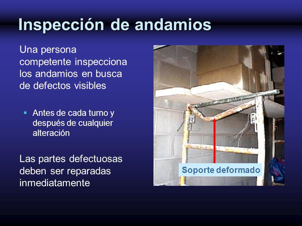 Inspección de andamios Una persona competente inspecciona los andamios en busca de defectos visibles Antes de cada turno y después de cualquier altera